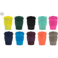 12oz Ecoffee Cup Made With Natural Organic Biodegradable Bamboo Fibre