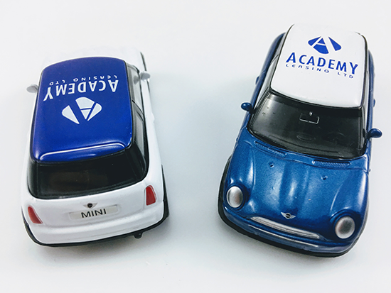 Branded Model Mini Cooper Vehicles Printed and Delivered for Academy Leasing.