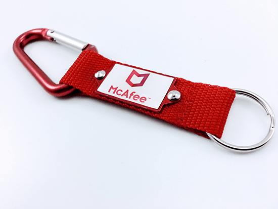 Promotional Carabiner Strap Keyrings, Supplied by Fylde Promotional Merchandise.