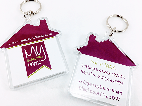 Promotional House Shaped Keyrings, Supplied by Fylde Promotional Merchandise.