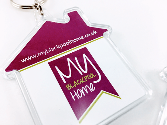 Branded House Shaped Keyrings, Printed and Delivered for Kennedy Ross Consulting.