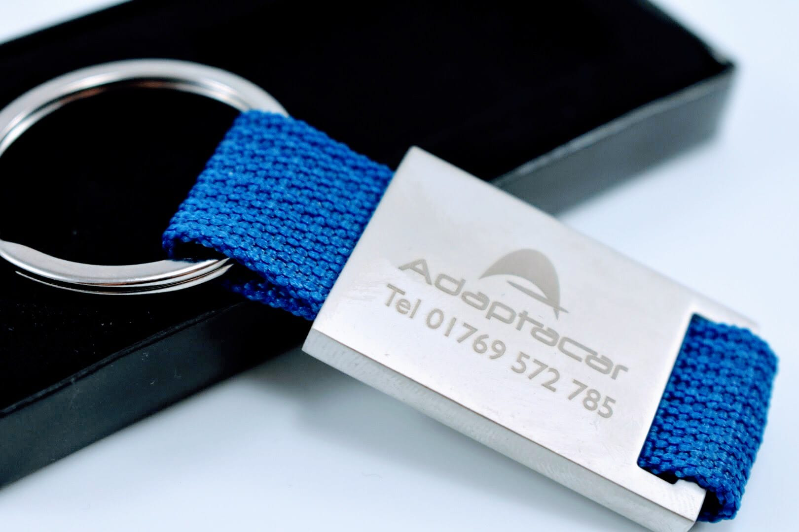 Promotional Executive Metal And Canvas Keyrings, Supplied by Fylde Promotional Merchandise.