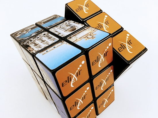 Branded Rubik's Cubes, Printed and Delivered for Elixir Europe.